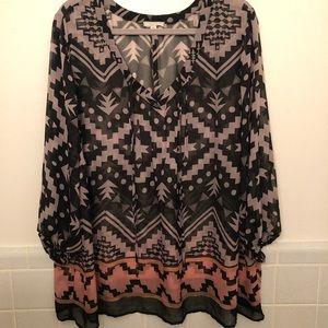 Pleione sheer blouse. Size 1X